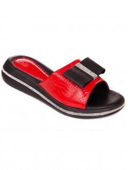 Papuci brevetate cu panglică - roșie
