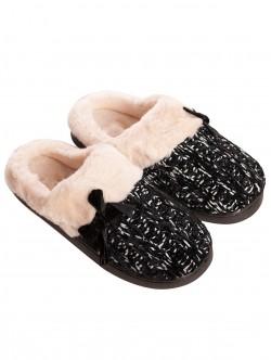Papuci de tricotat pentru femei - negri
