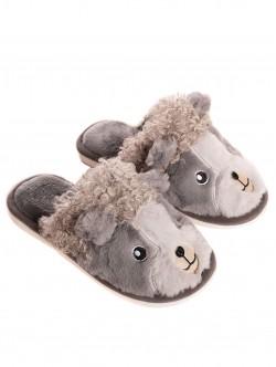 Papuci pufoși pentru femei - gri