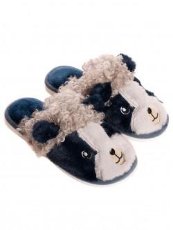 Papuci pufoși pentru femei - albastru