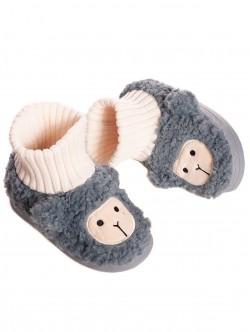 Papuci gri pentru copii acasă