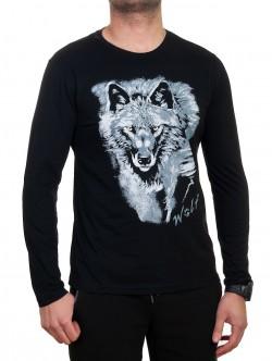 Bluză bărbătească cu mânecă lungă cu lup