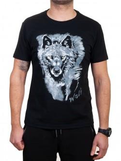 Tricou bărbătesc negru cu lup