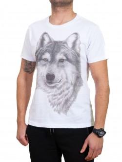 Tricou bărbătesc alb cu lup