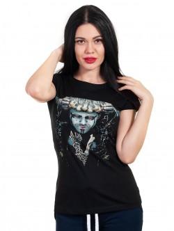 Tricou negru pentru femei cu mâneci scurte