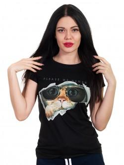 Tricou de dama negru cu pisica