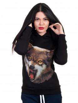 Hanorac negru pentru femei cu lup