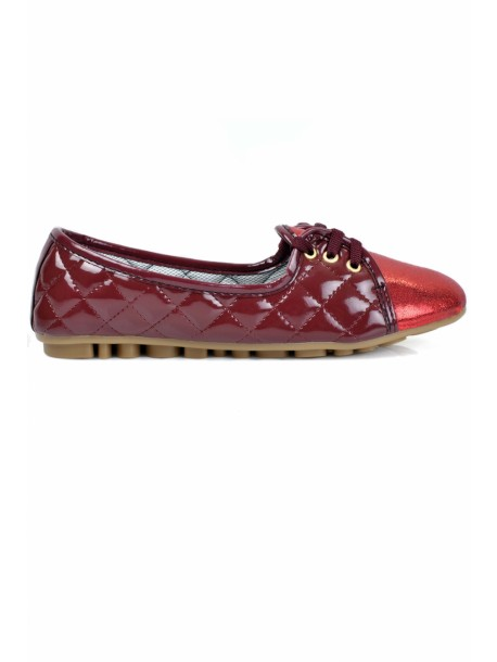 Pantofi de dama Geri in rosu si bordo