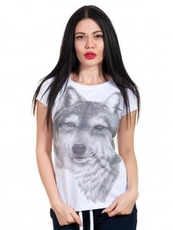 Tricou alb de femei cu lup