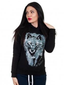 Hanorac negru de dama cu lup