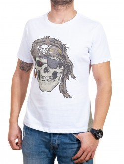 Tricou bărbătesc alb cu pirat