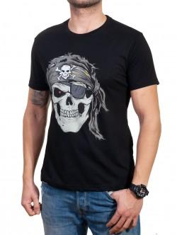 Tricou bărbătesc negru cu pirat