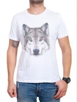 Tricou pentru bărbați în alb cu lup
