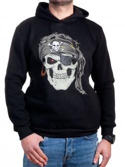 Hanorac negru pentru bărbați cu craniu