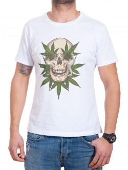 Tricou bărbătesc alb cu marijuana