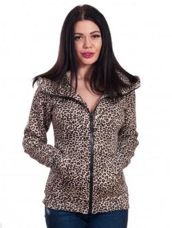 Hanorac leopard pentru femei cu glugă