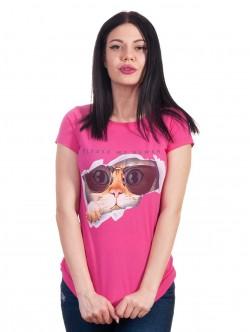 Tricou de damă în roz cu pisoi