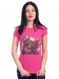 Tricou roz cu buldog francez