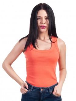 Top de dama simplu portocaliu