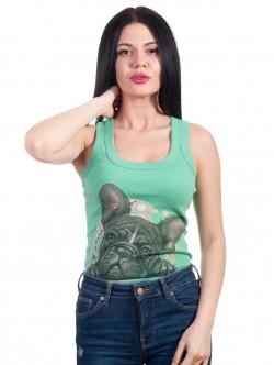 Top de dama verde cu buldog francez