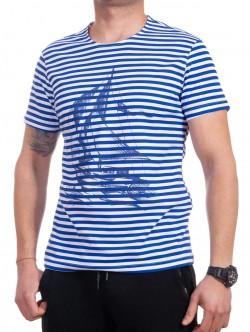 Tricou bărbătesc cu dungi cu navă