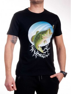 Tricou bărbătesc negru cu pește verde