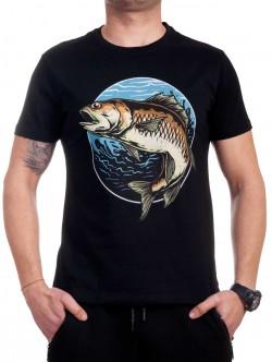 Tricou bărbătesc negru cu un pește