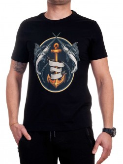 Tricou bărbătesc negru cu pește