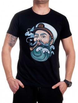 Tricou bărbătesc negru cu marinar