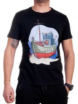 Tricou bărbătesc negru cu corabie