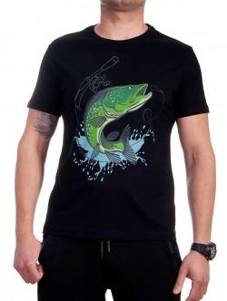 Tricou bărbătesc în negru cu pește verde