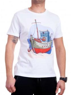 Tricou bărbătesc alb cu corabie