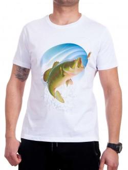 Tricou bărbătesc alb cu pește verde