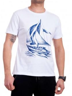 Tricou bărbătesc în alb cu corabie