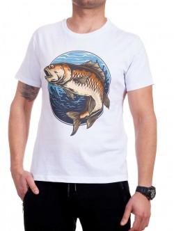 Tricou alb pentru bărbați cu un pește