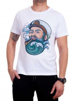 Tricou bărbătesc alb cu marinar