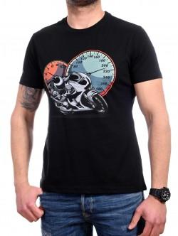 Tricou negru cu motocicletă