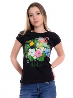 Tricou de dama negru cu flori