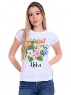 Tricou alb de femei Aloha