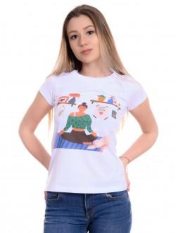 Tricou alb pentru femei Yoga