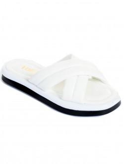 Papuci de dama colorati - alb