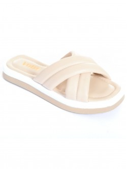 Papuci de dama colorati - crema