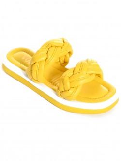 Papuci de dama împletiți- galben