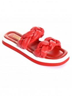 Papuci de dama împletiți- roșii