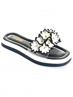 Papuci de vară albastru cu flori