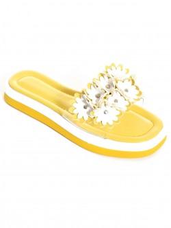 Papuci de vară galbeni cu flori