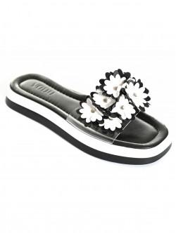 Papuci de vară negri cu flori