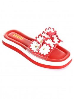 Papuci de vară roșii cu flori