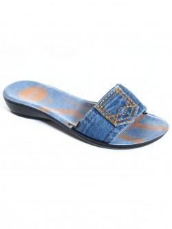 Papuci pentru femei din denim- scăzut