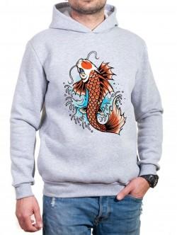 Hanorac gri cu pește Yakuza